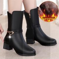冬季中年女靴子真皮加绒女士中筒靴妈妈棉靴冬天保暖中老年棉皮靴SN0456 黑色 111款