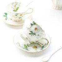 骨瓷咖啡杯套装欧式陶瓷创意简约下午茶茶具套装可爱红茶杯 山茶花-杯碟勺