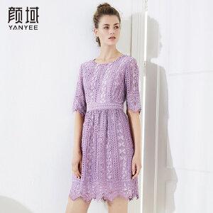 颜域女装新款2018品牌夏装蕾丝钩花镂空连衣裙中长款收腰中袖裙子