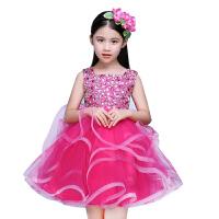 舞蹈服女童礼服公主蓬蓬裙主持人钢琴短款演出服儿童婚纱晚礼服花童裙秋 玫红色