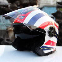 坦克头盔摩托车电动车头盔男四季机车半盔安全帽子夏 T597双镜 美凤