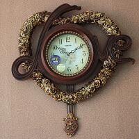 创意个性钟表挂钟客厅大号静音时钟壁钟欧式浪漫摇摆挂钟新房礼品 白色 20英寸