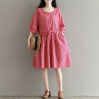 孕妇装夏装新款韩版潮妈中长款五分袖上衣宽松显瘦孕妇连衣裙夏季4261 红色白条