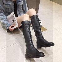 系带马靴女2018新款骑士靴长筒靴女鞋子高筒靴女靴子瘦瘦靴秋冬季SN5742 黑色加绒