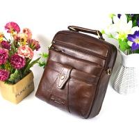 男士单肩斜挎包手提包时尚商务休闲上班竖款小斜背包 棕色 土油