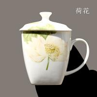 骨瓷方形带盖马克杯家用大杯子陶瓷茶杯办公室用水杯