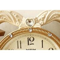 欧式天使创意心形挂钟客厅田园卧室壁钟静音时尚挂表个性装饰钟表 20英寸
