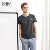 海一家男装2018夏季新品时尚上衣男士圆领棉印花短袖T恤