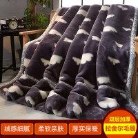 毯子冬季加厚法兰绒毛毯男学生单人宿舍保暖女冬用被子双层 200X230cm 约9斤 双层加厚