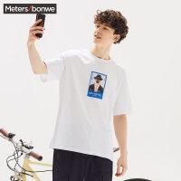 【1件3折价:65.7,可叠券】美特斯邦威T恤男年夏季男潮流照片印花短袖T恤