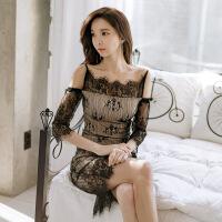 2018夏女装新款韩版一字领露肩蕾丝小礼服修身包臀连衣裙 黑色