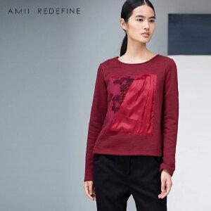 [AMII东方极简] JII AMII冬季新品百搭大码拼接抽象绣花套头圆领卫衣女装
