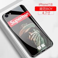 苹果6splus手机壳iphone7plus超火潮牌个性玻璃保护套苹果6女款6p全包防摔7p创意外壳