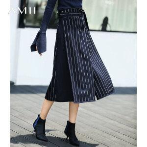 【到手价:142.9元】Amii极简欧货港味时尚半身裙2019春季新款宽松高腰配腰带中长裙