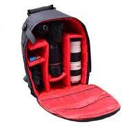 佳能相机包男女士小型双肩摄影包单反尼康背包多功能轻便 红色 送防雨罩
