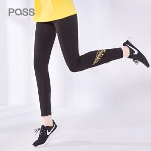 pass2017新款秋装运动休闲打底裤羽毛刺绣紧身裤长裤韩版学生潮