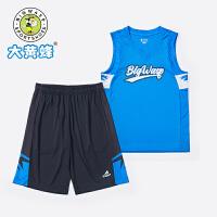 大黄蜂男童运动套装透气休闲背心夏季大童时髦韩版短裤儿童两件套