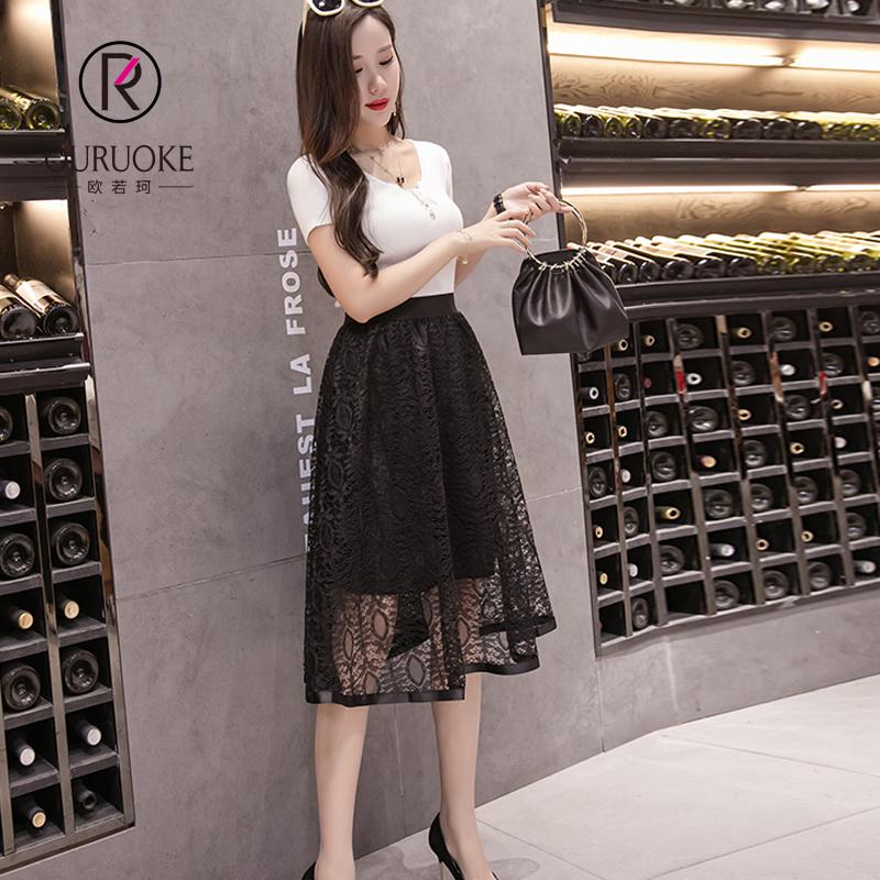 欧若珂  2018蕾丝包臀裙夏季新款一步裙女蕾丝中长裙气质半身裙女