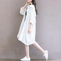 文艺棉麻中长款防晒衣女夏季新款宽松蝙蝠袖森系连帽白色空调开衫 白色