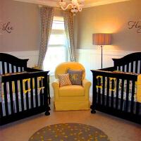 Dalala双胞胎婴儿床实木童床游戏床超大高护栏方形双胞胎多胞胎床