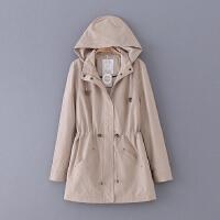 G640 女装 春季新款纯色修身中长款连帽长袖女式休闲外套风衣