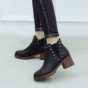ZHR粗跟小短靴黑色韩版百搭学生英伦风网红靴裸靴2018冬季新款