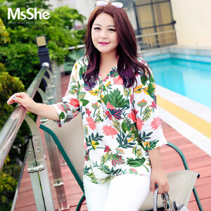 MsShe加大码女装2017新款胖mm减龄显瘦宽松人棉衬衫M1771017