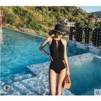 透视泳装韩国小香风温泉游泳衣性感连体泳衣女蕾丝三角遮肚显瘦小胸聚拢