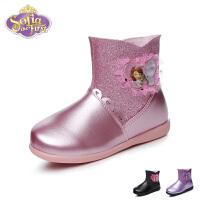 迪士尼disney童鞋17冬季儿童皮鞋唯美蕾丝时装靴保暖女童皮靴闪亮公主靴 (5-10岁可选)