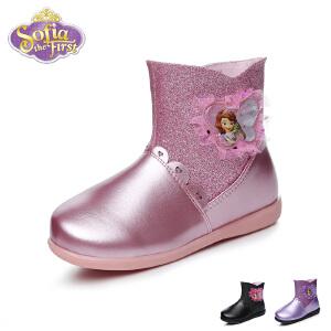 【139元任选2双】迪士尼disney童鞋17冬季儿童皮鞋唯美蕾丝时装靴保暖女童皮靴闪亮公主靴 (5-10岁可选)