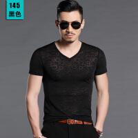男士T恤V领短袖男修身韩版夏季男装半袖冰丝光棉镂空T恤大码汗衫