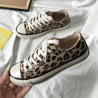 豹纹高帮加绒帆布鞋女冬季2018新款二棉板鞋韩版学生保暖网红棉鞋 低帮二棉 加绒