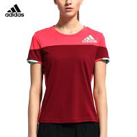 adidas阿迪达斯羽毛球服男女圆领短袖T恤运动休闲透气速干T恤