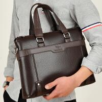 男包手提包商务公文包横款休闲男士包包单肩斜挎包手拿皮包