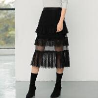 女装2018春季新款时尚修身显瘦纯色高腰松紧带拼接蕾丝半身裙长裙
