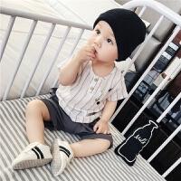 宝宝套装夏装婴儿衣服新生儿纯棉短袖条纹T恤五分裤0-2两件套