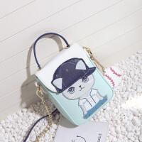 迷你小包女2018夏季新款韩版单肩斜挎手提竖包可爱卡通学生手机包 图片色