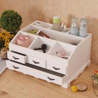 欧式韩国桌面木制化妆品收纳盒首饰盒木质特大号抽屉式储物柜