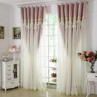 韩式定制窗帘成品客厅卧室纯色蕾丝落地飘窗遮阳全遮光布新款