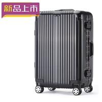 2018铝框拉杆箱万向轮20寸pc旅行箱24寸行李箱28寸男女登机硬箱 黑色 20寸