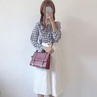 时尚套装女春季新款韩版学生百搭格子衬衫+高腰开叉七分阔腿裤潮