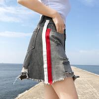 个性撞牛仔半身裙女2018春夏新款韩版复古百搭磨破显瘦包臀短裙