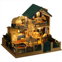 diy小屋别墅圣托里尼手工房子模型拼装玩具送男女生儿童创意生日礼物