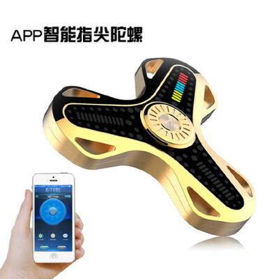 手指螺旋APP智能蓝牙减压指间成人魔幻合金LED灯发光指尖陀螺玩具 【可代写贺卡】APP控制 自定义灯光文字