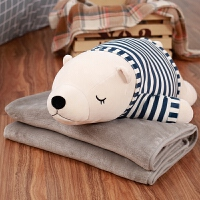 可爱卡通柔软北极熊公仔毛绒玩具暖手抱枕被子两用空调毯三合一