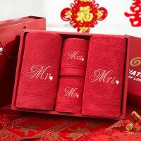 深红婚庆竹浆纤维情侣浴巾毛巾四件套创意礼盒可刺绣 深红吉祥盒竹浆纤维2浴2面