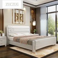 ZUCZUG实木床双人床1.8米1.2米单人 现代经济型简约中式高箱储物床1.5M 实木床+乳胶床垫+床头柜*2 颜色