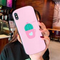 少女粉色仙人掌苹果Xs/Max/XR手机壳8plus创意椭圆形iPhonex硅胶软壳7plus小清新 /s粉底仙人掌