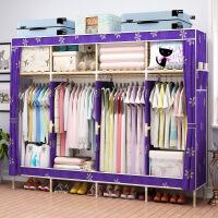 牛津布衣柜实木简易衣柜组装衣橱大容量单双人收纳柜子衣服储物柜