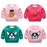 女童婴儿童加绒卫衣服套头外套装0岁1男童装3宝宝2加厚秋冬季上衣